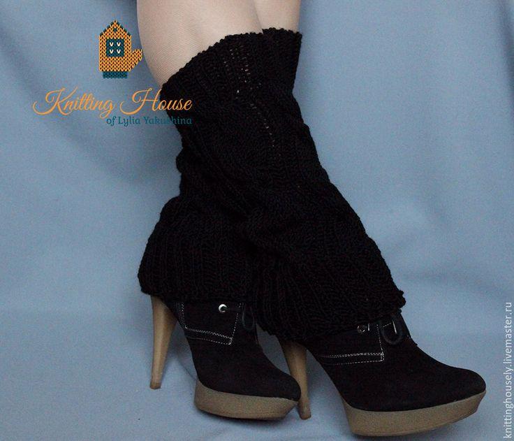 Купить Гетры женские Связаны Спицами шерстяная Пряжа Косы Черные Стиль Мода - черный