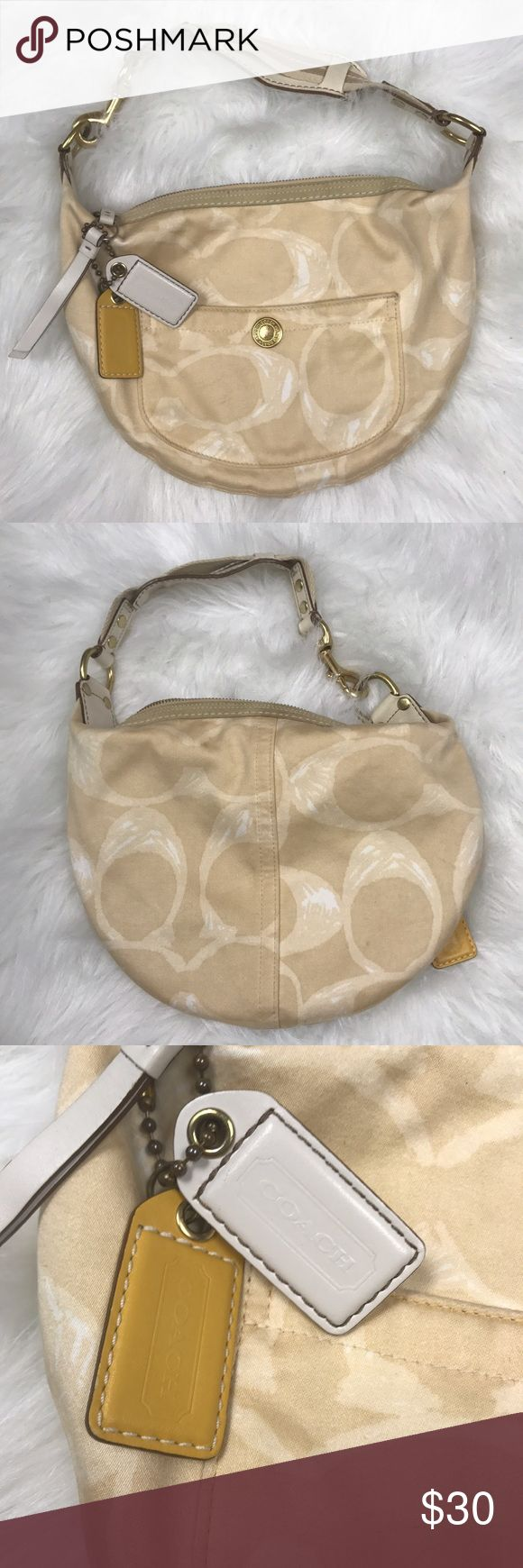 COACH BEIGE SCRIBBLE C SMALL HOBO SHOULDER BAG Good condition coach beige scribble purse. So cute! Needs a good cleaning but overall good condition Coach Bags Shoulder Bags