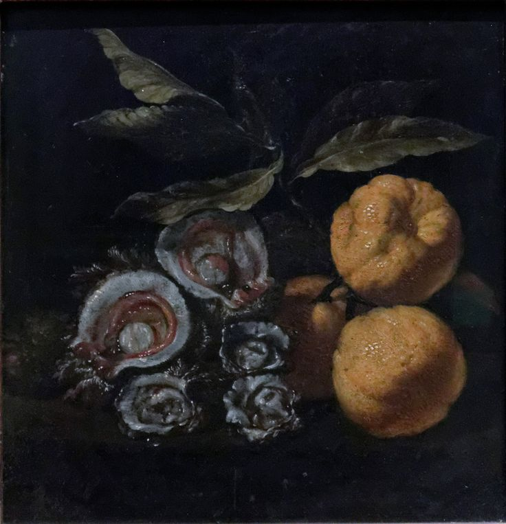 Still life, with Oysters and Quinces; Giuseppe Recco (XVII c.). Louvre RF 1977