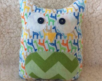 Ollie the owlet - stuffed owl - giraffes with green chevron belly