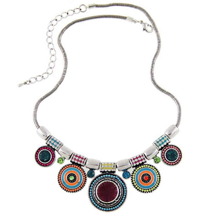 Necklace : Boho Silver Plated Colourful Bead Necklace