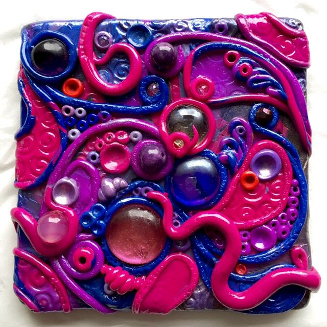 Purple Dream. Polymer clay tiles. Glass and beads. Mixed media. Hand made.
