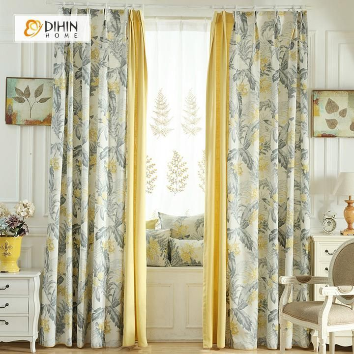 Dihin Home Yellow Flowers Grey Leaves Printed Blackout Grommet Window Curtain For Living Room 52 63 Inch 1 Panel In 2020 Curtains Living Room Living Room Decor Curtains Home Curtains