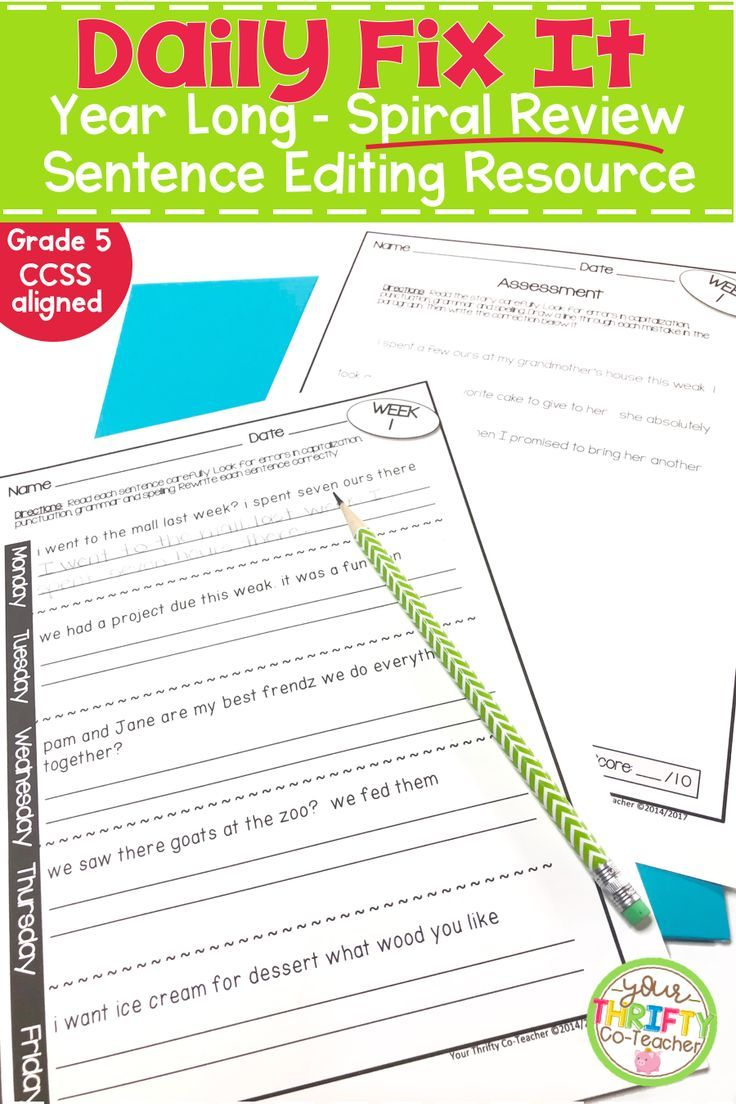 This Daily Fix It Sentence Editing Resource Provides Your Fifth Grade Students With Daily Spiral Review P Daily Oral Language Language Review Sentence Editing [ 1104 x 736 Pixel ]