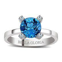 Bella Gloria Altın Kaplamalı Mavi Topaz Pırlanta Yüzük (GPY0017)