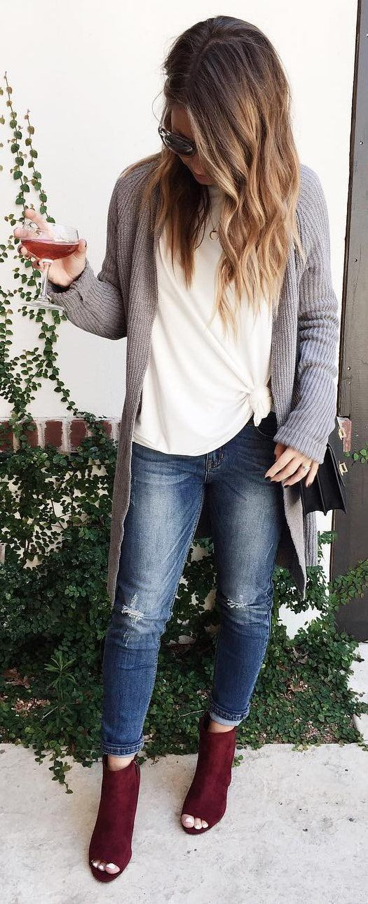 #cute #outfits Grey Sweater // White Blouse // Ripped Jeans // Purple Ankle Boots