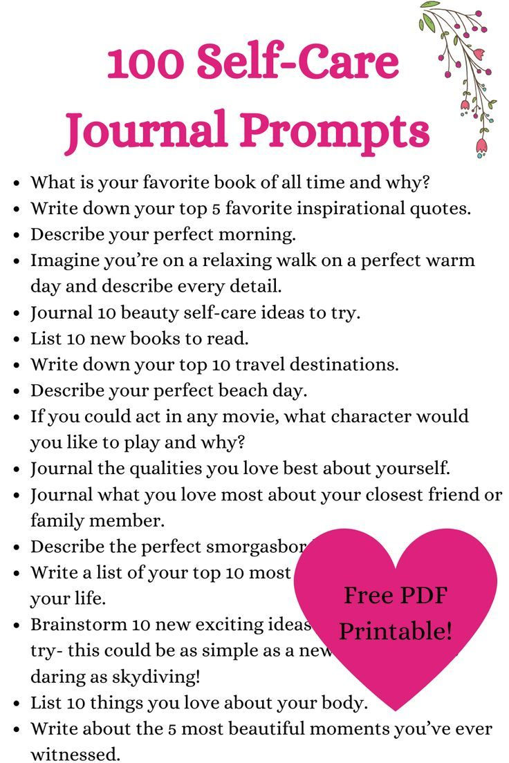 100 selfcare journal prompts with free pdf printable