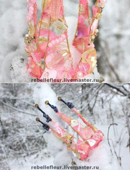 Купить Корона Ледяная роза - корона, украшение для прически, украшение для волос, розовый, корона для принцессы