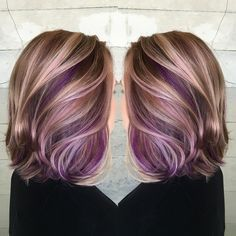 """""""She wanted to completely change her look and add pretty pops of purple. We chose warm golds and Browns as a complete opposite from the ashy blonde she…"""""""