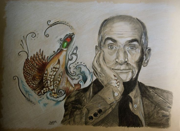Louis de Funès, pencil, colour, pencil, drawing Paper: lana