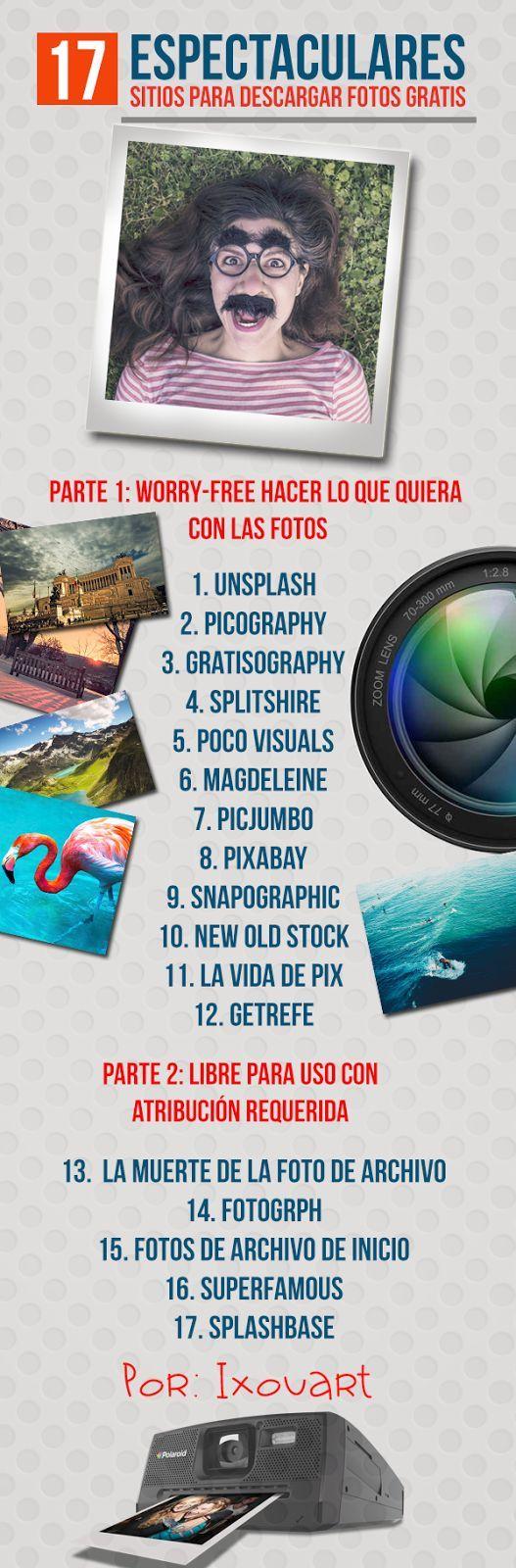 Una infografía con 17 espectaculares sitios para descargar Fotos Gratis.