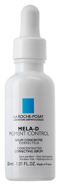 New La Roche Posay Mela D Pigment Control offers intensive corrective treatment for visible dark spots. Clinical studies show proven efficacy over a period of 8 weeks:    28% decrease in dark spots  36% increase in skin's radiance  24% decrease in discoloration  Formulated with 3 key ingredients – kojic acid, LHA/glycolic acid and Thermal Dermobiotic Extract- La Roche Posay Mela D Pigment Control may be used to treat skin affected by hyperpigmentation: