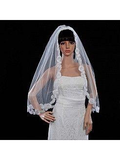Ιβουάρ Μίας Βαθμίδας Αγκώνα Μήκους Πέπλα Γάμου με Απλικέ ts130198 - EUR 10,27€