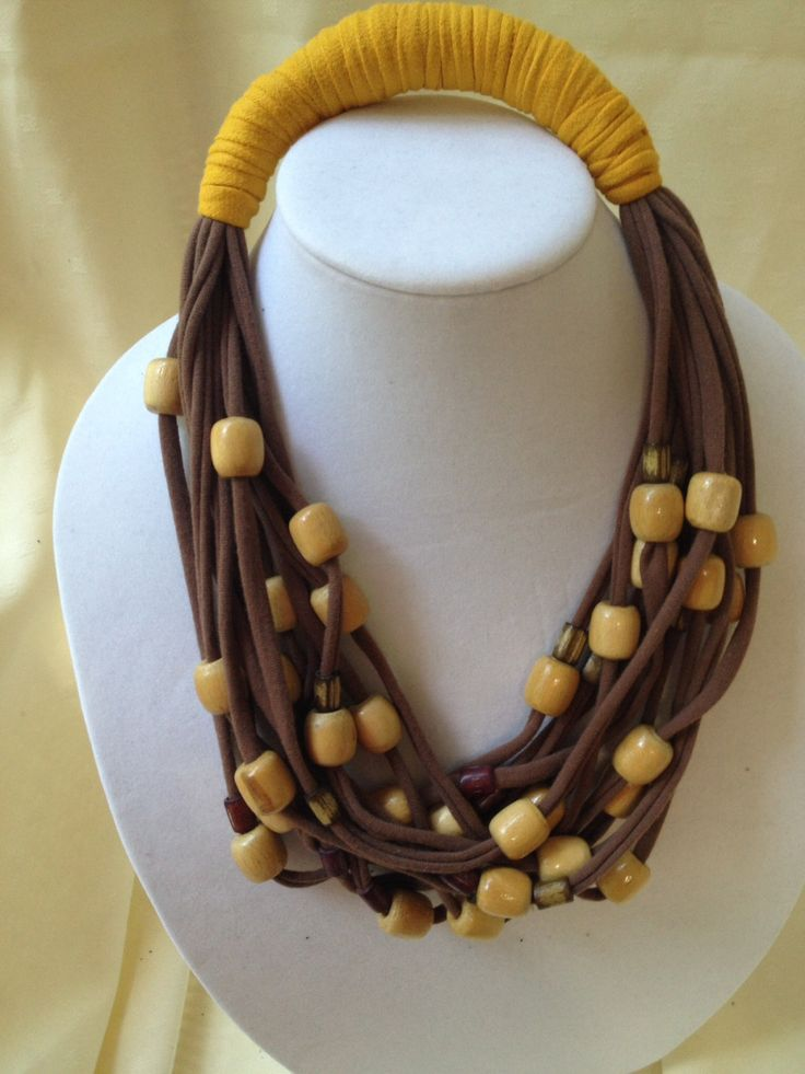 Multi Strand Brown Scarf Necklace by Rellia on Etsy