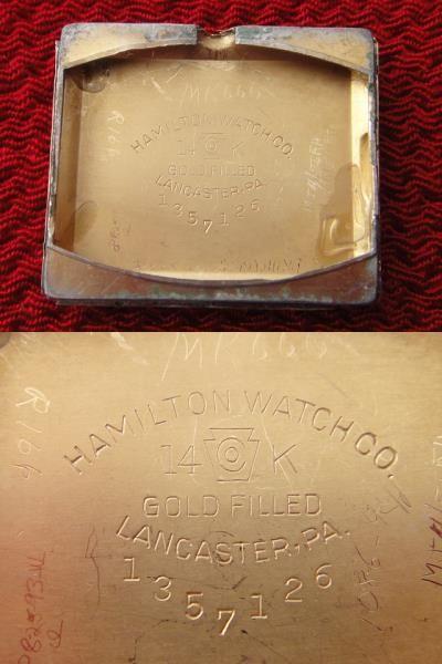 稀少★40's HAMILTON ハミルトン USA製 14金張ゴールドケース 手巻アンティーク腕時計 スモセコ角型デコ 未使用品レザーバンド付 ブラウン_画像7