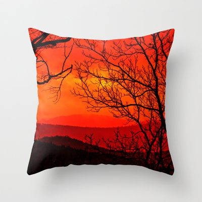 Orange range Throw Pillow by Pirmin Nohr - $20.00 A colored view through some naked trees over mountains in my homeland, the Palatinate, Germany  view, look, landscape, orange, nature, silhouettes, red, yellow