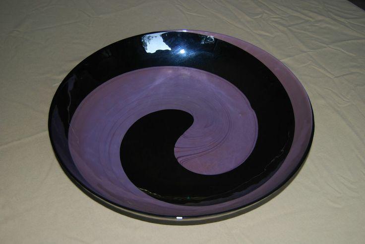 Vintage murano rare large black purple swirl glass
