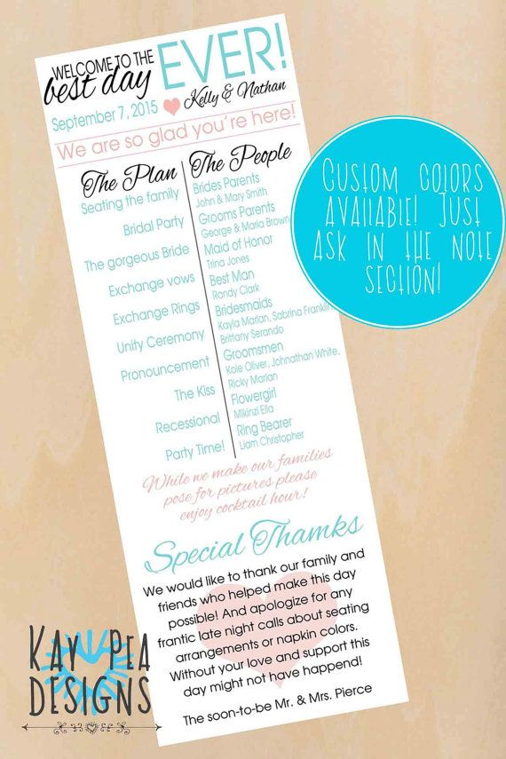 Best Day Ever Wedding Program By KayPeaDesigns On Etsy