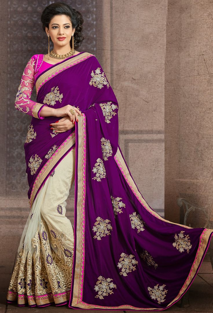 #Party Wear Saree #Beige Net #Saree with #Blouse | @ $ 133.6