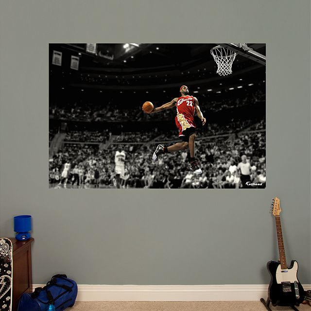 Lebron James Throwback Slam Dunk Mural Fathead Wall Graphic Cleveland Cavaliers Decal Basketball Bedroomsports Decorslam