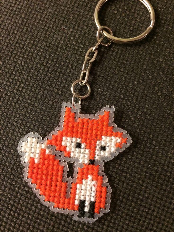 Cross stitch fox keyring on plastic canvas