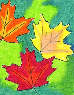 Art Projects for Kids: fall trace leaf template with pencil 2. trace pencil line with sharpie 3. use two oil pastels for each leaf and blend colours 4. colour background with contrasting pastel colour.