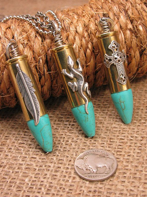 Turquoise Jewelry - Bullet Necklace - Bullet Jewelry - Crucifix, Feather, Lizard Embellished Brass Colt 45 Casing with Turquoise Necklace