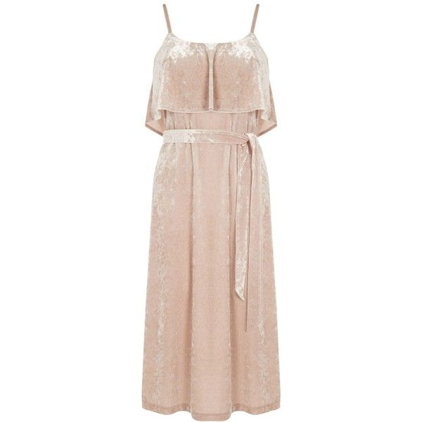 Warehouse Crushed Velvet Cami Dress (3.975 RUB) ❤ liked on Polyvore featuring dresses, cream, women, crushed velvet dress, tall dresses, cream shift dress, pink camisole and pink dress