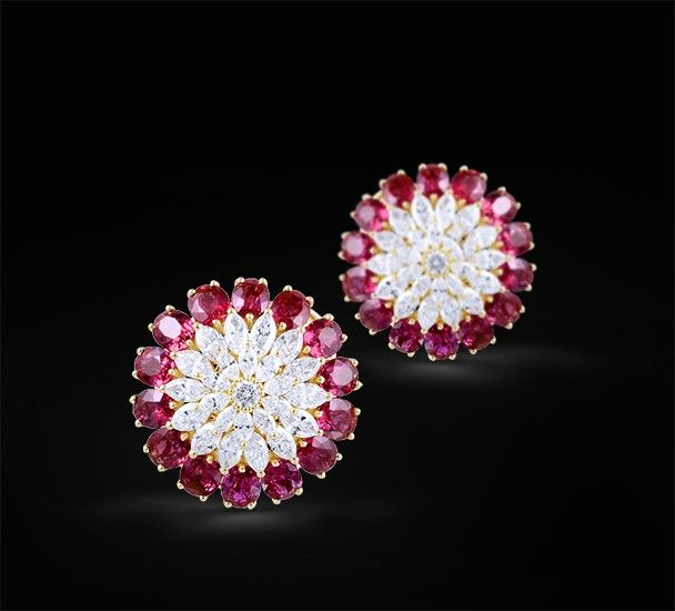 All Diamond & Ruby Earring  Diamond & Ruby Earring set in 18k yellow gold.