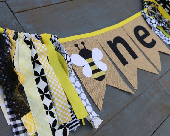 ONE Bumble Bee First Birthday Black & Yellow Highchair Banner for Party Decoration or Photo Prop by MsRogersNeighborhood
