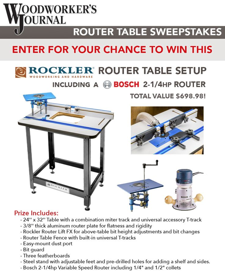 Win a complete Rockler router table setup, including a Bosch router!