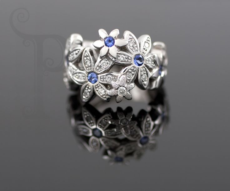 """Handmade 18ct White Gold """"Catherine"""" Daisy Ring, Set With Round Cut Sapphires and Round Brilliant Cut Diamonds"""
