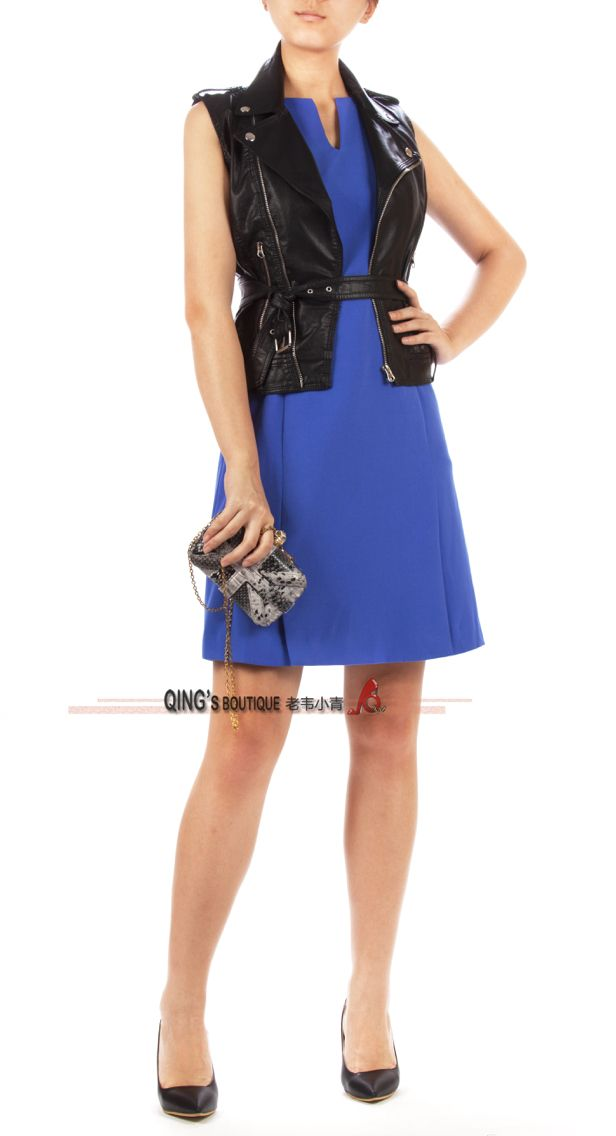 Blue fitted dress with biker vest