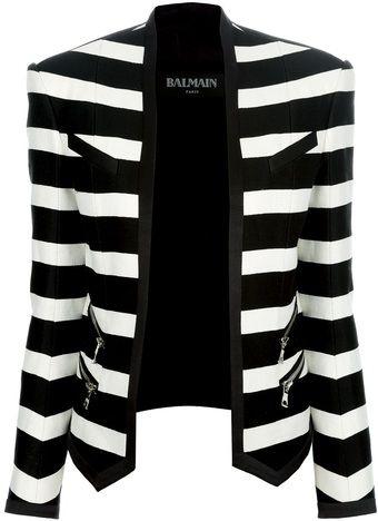 Balmain Striped Cropped Blazer