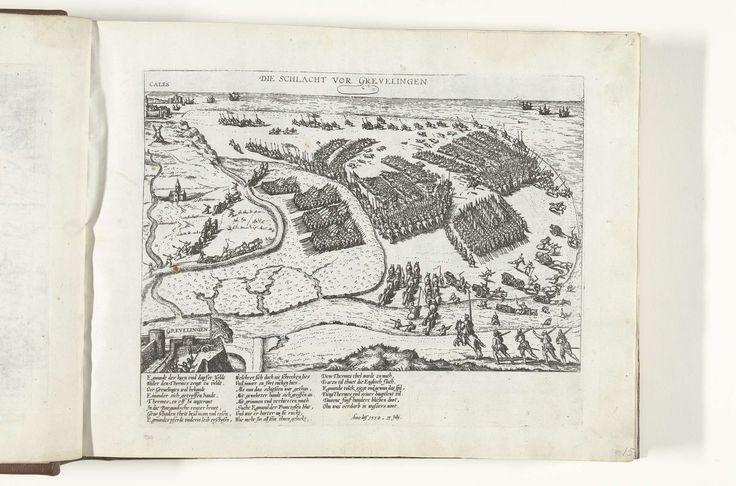 Frans Hogenberg   Slag bij Grevelingen, 1558, Frans Hogenberg, 1566 - 1572   Slag op het strand bij Grevelingen (Gravelines) op 13 juli 1558 waarbij de Fransen verslagen worden door het Spaanse leger onder bevel van Lamoraal, graaf van Egmond. Met onderschrift van 22 regels in het Duits.