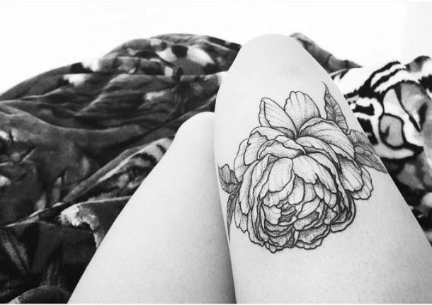Tattoo by tattoo artist Ashley Driscoll at The Village Ink - Tattoo & Piercing Shop Toronto #tattoo #tattoos #flower #thightattoo