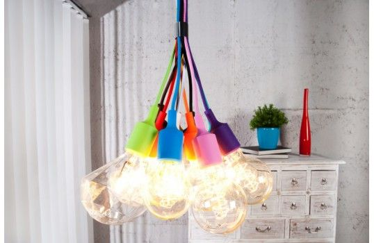 Lustre design 12 ampoules colorées