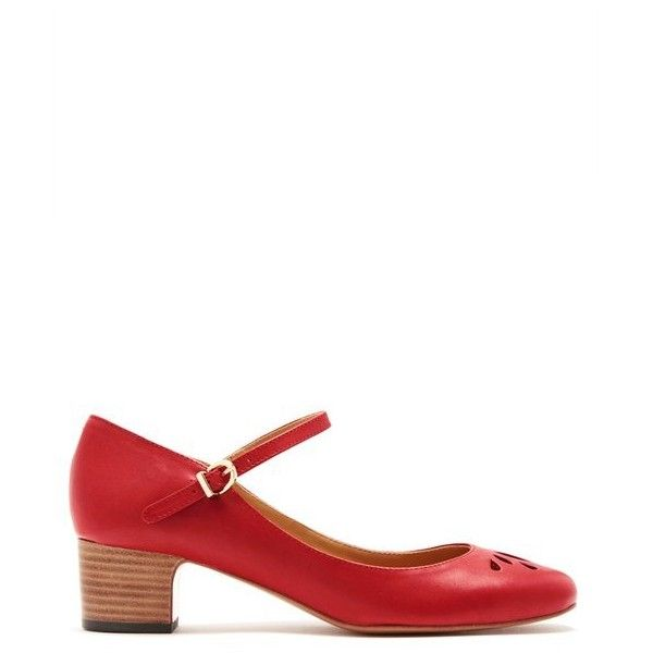 A.P.C. Rania Mary-Jane leather pumps (605 CAD) ❤ liked on Polyvore featuring shoes, pumps, red, strap pumps, red mary jane shoes, red mary jane pumps, strappy pumps and floral print pumps