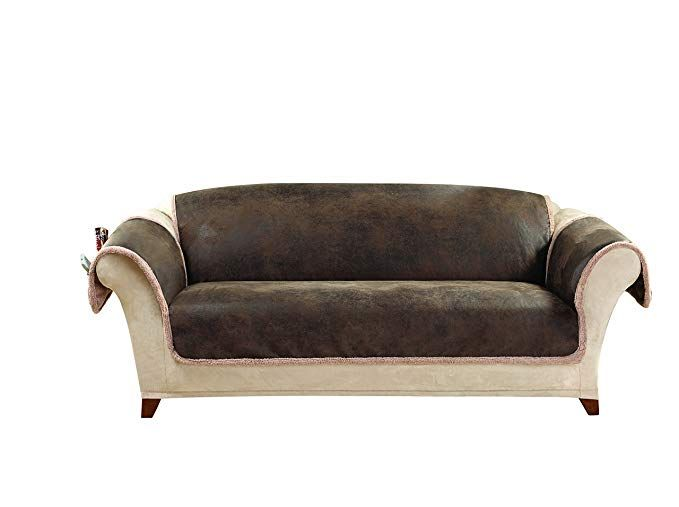 Sure Fit Vintage Leather - Sofa Slipcover - Brown (SF43058) Review ...
