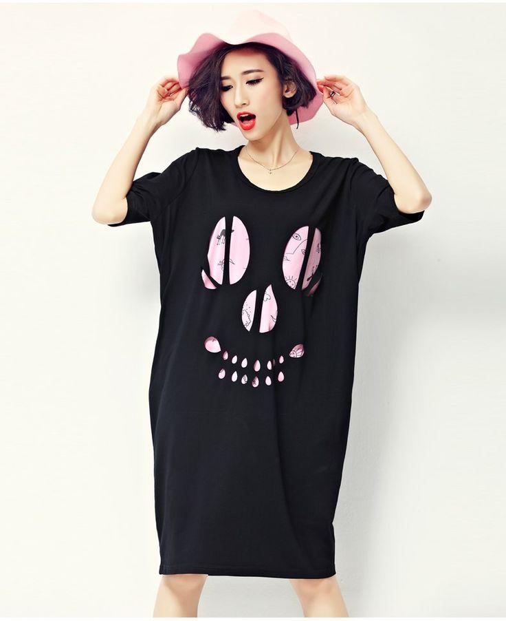 2016新作 韓国ファッション スカル頭 tシャツロング ワンピース 半袖膝丈ワンピース ゆるロングシャツ 全3色