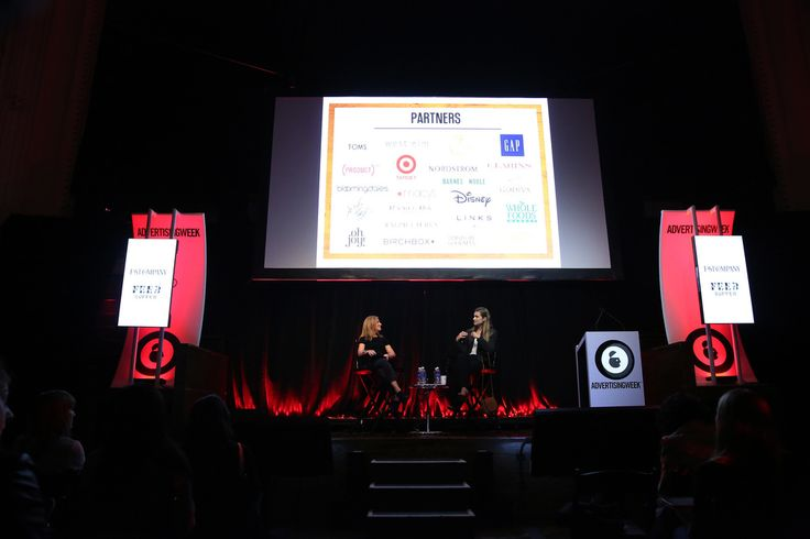 #AWXI Advertising Week:  Publisher at Fast Company, Christine Osekoski (L) and Founder & CEO at FEED Projects,  Lauren Bush Lauren speak onstage at the Social Innovation: Aligning Brands Through Creative Ideas, Strong Execution...and SOUL