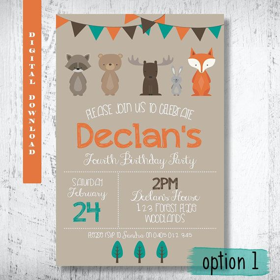 Woodland Forest Friends Invitation.Woodland Birthday by WBevents
