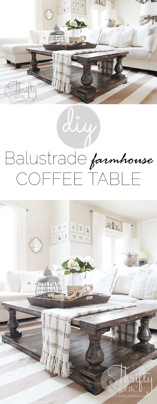 Diy home table decorations - Diy Balustrade Farmhouse Coffee Table