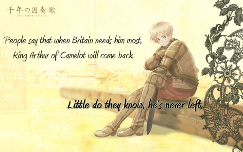 I have loved this concept ever since one of my classmates in my King Arthur course unwittingly suggested it when he confused Arthur Kirkland for King Arthur in a conversation. England from Hetalia as King Arthur.