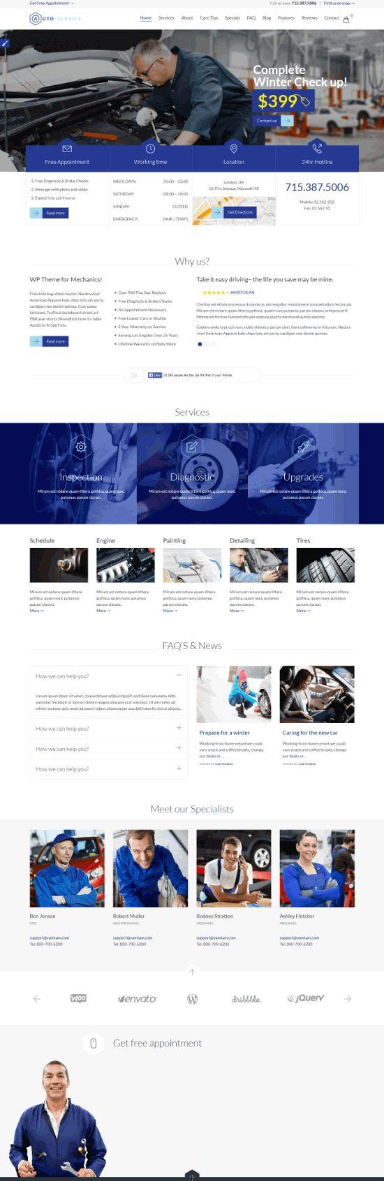 Auto Car Repair Mechanic Shop - многофункциональный шаблон для сайта автосервиса на WordPress