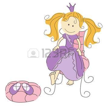 illustrazione di una principessa e scarpe magiche isolato su sfondo bianco photo
