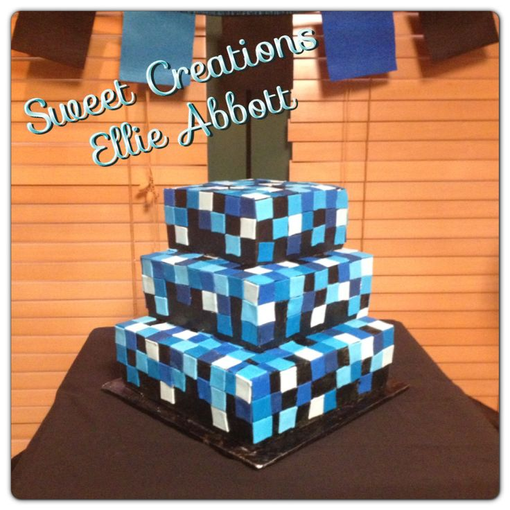 17 Best Ideas About Boys Blue Bedrooms On Pinterest: Black And Blue Pixel Cake By Ellie Abbott. Elliescakes