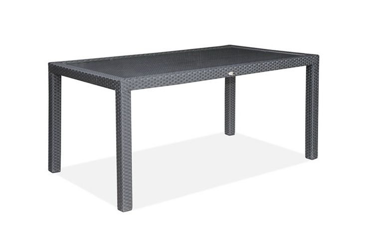 Bondi 1.6 Table - This 1600 Bond Table is 100% weatherproof and resistant to the elements. Beneath the tightly hand-woven all-weather polyethylene wicker exterior is a commercial grade quality, powder coated aluminium frame which is 100% rust proof. The table comes complete with a 8mm tempered glass top.   Dimensions: 160 x 90 x 73