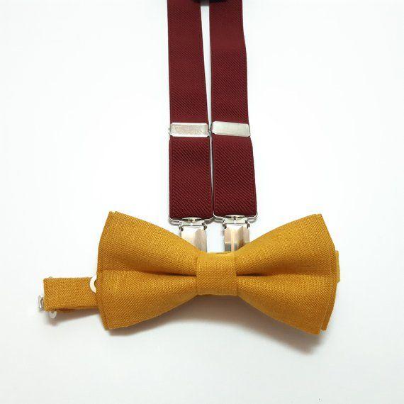 Yellow Mens Solid Color Pre-tied Adjustable Bowtie Y-Back Clip Suspenders Set for Wedding