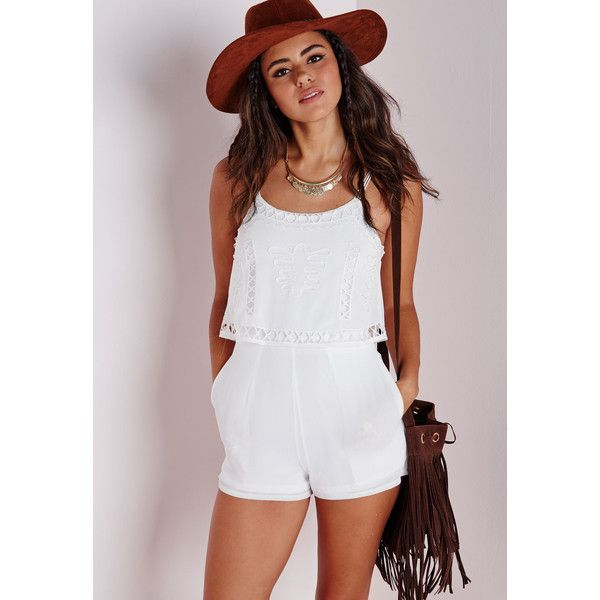 Missguided Embroidered Double Layer Playsuit ($30) ❤ liked on Polyvore featuring jumpsuits, rompers, white, white rompers, playsuit romper and white romper